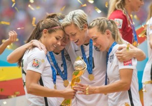 Members of the U.S. women's national soccer team celebrate their World Cup victory on Sunday. (Photo: Corbis)