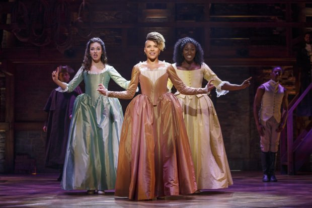 "Solea Pfeiffer, Emmy Raver-Lampman & Amber Iman star as the Schuyler sisters in the national tour of ""Hamilton"" in San Francisco. (SHN)"